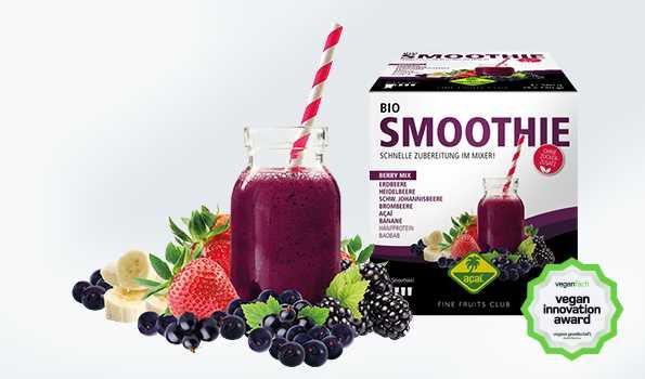Bio Smnoothie Packs aus 100% Frucht und Gemüse. Gewinner der Vegan Innovation Award.