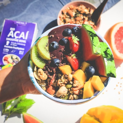 Recipe açaí bowl prepared with fruit puree
