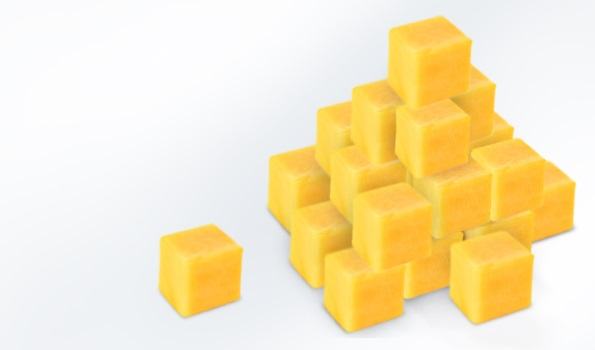 Fruit puree as IQF cubes and pellets