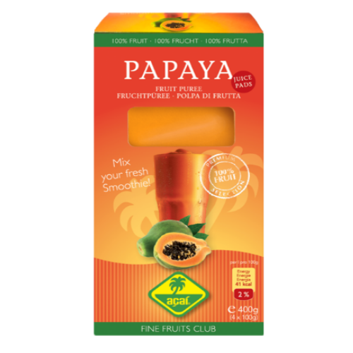 Papaya Fruchtpüree 400g (4x100g) für Smoothies - Juice Pads - Fine Fruits Club